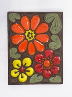 Hatalmas, falra akasztható retro hippi virágos kerámia falikép - bohém dekoráció
