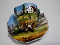 Antik Karlsbad  kézzel festett vadász tájképes kávéscsésze +alj