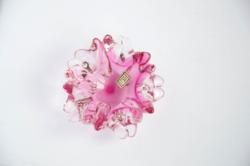Rózsaszín üveg virág hamutartó LRE vagy ELR jelzésű csehüveg hamutál
