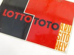 Eredeti retro fém reklámtábla - Lotto Toto Árusítóhely