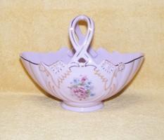 Kosár alakú aranyozott porcelán kínáló