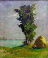Pihenés délidőben !! Magyar festő, 1930 körül....