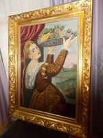 Álomszép hatalmas antik selyem tűgobelin kézimunka tűzarany blondel keretban