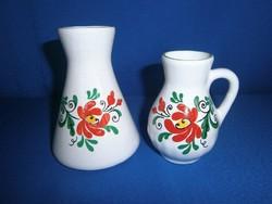 2 db Bodrogkeresztúri kerámia váza és korsó