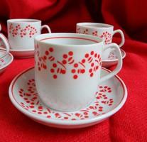 Hollóházi mokkás készlet ritka kávészemes-pöttyös mintával