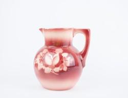 Gyönyörű rózsaszín fajanszkancsó - 100+ éves darab - Zsolnay? Hollóházi? kiöntő