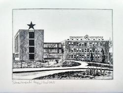 Gyár rézkarc 70-es évek