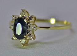 Szép klasszikus zafír,brill arany gyűrű