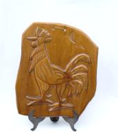 Kakasos kerámia falikép - retro iparművész falidísz ifj Rusói karcagi kerámia