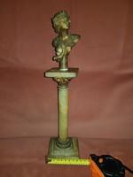 37 cm magas, alabástrom oszlop, fémbetétekkel, antik büszttel