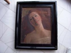 Fiatal nő portréja, Jeney Jenő festménye. Olaj, vászon, eredeti keretben
