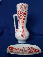 Zsolnay népi motívumos váza + tálka