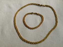 KK127 - 9 karát sárga arany nyaklánc és karkötő
