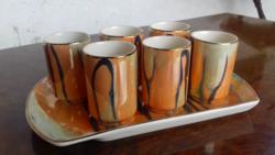 Retro likőrös-pálinkás készlet, a segesvári kerámiagyár /Faianta Sighisoara/ terméke