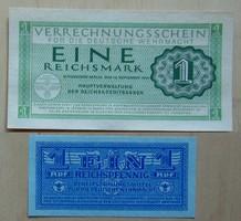 Német birodalom Wehrmacht bankjegyek 1 márka , 1 pfennig 1944 UNC hajtatlan horogkeresztes