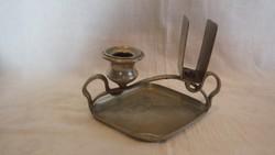 Berndorf alpakka kávéházi asztali gyufatartó gyertyatartóval