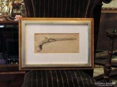 Tahi Antal Kovás Pisztoly Ceruzarajz Egyedi rajz