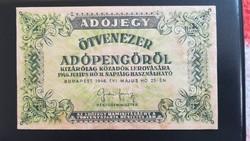 1946-os 50000 Adópengő SAJTÓ HIBÁS RR!
