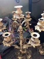 Tűzaranyozott antik gyertyatartó