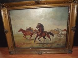 B.Veress Géza: Terelés a Hortobágyon (lovak)