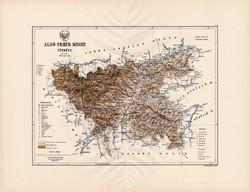 Alsó - Fehér megye térkép 1888 (3), Magyarország, vármegye, régi, atlasz, eredeti, Kogutowicz Manó