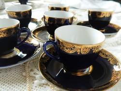 """Lomonosov """"Golden Frieze"""" csésze és alj 6 db, kobalt és arany díszítés"""