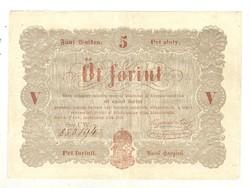 5 Öt forint 1848 Kossuth bankó barna betűk 3. Nagyon szép