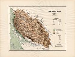 Lika - Krbava megye térkép 1890 (3), vármegye, régi, atlasz, eredeti, Kogutowicz Manó, Gönczy Pál