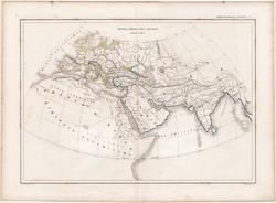 Antik világ térképe, készült 1860-ban, francia nyelvű, atlasz, eredeti, 32 x 44 cm, Dussieux, térkép