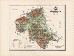 Zágráb megye térkép 1890 (3), vármegye, régi, atlasz, eredeti, Kogutowicz Manó, Gönczy Pál, 43 x 56