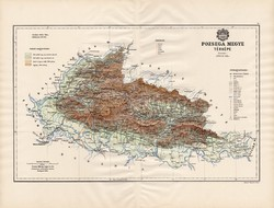 Pozsega megye térkép 1890 (3), vármegye, régi, atlasz, eredeti, Kogutowicz Manó, Gönczy Pál, 43 x 57
