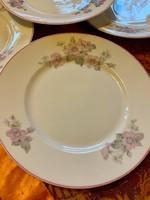 Hüttl Tivadar m. kir. udvari szállító 6 db ritka lapos tányér finom virágmintával