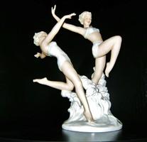 Fürdőző lányok, Schaubach-Kunst egyik igen ritka, antik porcelánja.