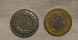 Lengyel pénz - érme, 1 és 2 złoty (1990, 1995)