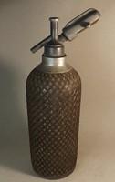 Antik drótfonatos szódás üveg angol ón fejjel