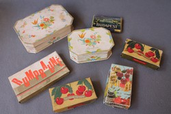 Régi csokoládé dobozok, Szerencsi, Rumpraliné, Konyakmeggy és Budapest cigarettás doboz