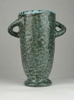 0V975 Régi jelzett Gorka kerámia füles váza 19 cm