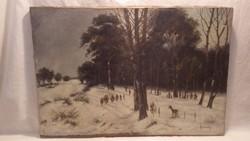 Jelzett antik téli erdőszéle tájkép festmény