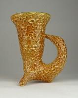 0V976 Régi jelzett Gorka kerámia váza 16.5 cm