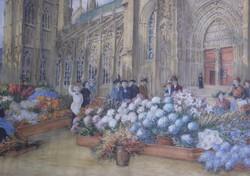 Ismeretlen művész: Virágpiac, akvarell, 19. század