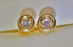 Szépséges antik francia 0,24ct gyémánt arany fülbevaló