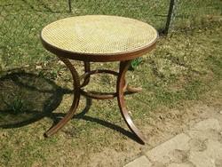 Antik thonet hálós vagy rattan betétes 80cm átm. szép asztal