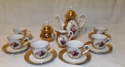 Rózsa mintás barokkos  kávéskészlet Német bavaria gyönyörű