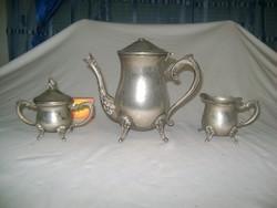 Kávé kiöntő, tejkiöntő és cukortartó fémből