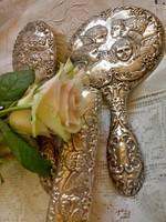 Ezüst  angyalkás fésülködő szett