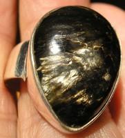 925 ezüst gyűrű 20/62,8 mm fekete-arany szerafinit