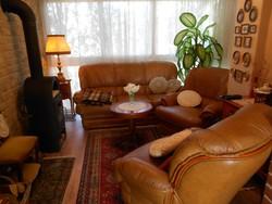 Eredeti bőr ülőgarnitúra, kanapé fotel cseresznyefa berakással 3-1-1