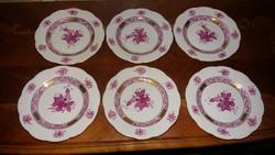 Herendi antik  Apponyi mintás süteményes tányérok 6 db