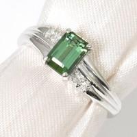 900f PLATINA gyűrű Turmalin Gyémánt kővel