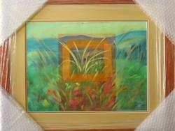 """Illényi Tamara """"Virágos rét"""" különleges keretezett selyemfestmény gyűjteményből eladó!"""